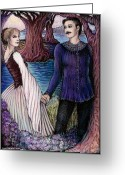 Maiden Drawings Greeting Cards - The Betrothal Greeting Card by Debra A Hitchcock