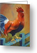 Giclees Greeting Cards - The Better Life - Rooster Greeting Card by Debbie McCulley