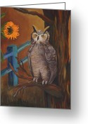 Great Painting Greeting Cards - The Better Life- Owl Greeting Card by Debbie McCulley