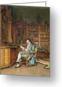 Gent Greeting Cards - The Bibliophile Greeting Card by Johann Hamza