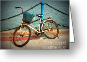 Chains Greeting Cards - The Bicycle Greeting Card by Carol Groenen