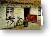 Great Painting Greeting Cards - The Bicycle Greeting Card by Karen Fleschler