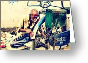 Bicycle Greeting Cards - The Bicycle Mechanic #instagram #india Greeting Card by Abid Saeed