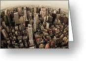 Fisheye Greeting Cards - The Big Apple Greeting Card by Peter Verdnik