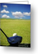 Golf Club Greeting Cards - The Big Drive Greeting Card by Mars Lasar