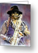 Sax Greeting Cards - The Big Man Greeting Card by Thomas Marquez