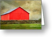 Shed Greeting Cards - The Big Red Barn Greeting Card by Darren Fisher