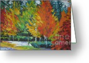 Red Leaves Painting Greeting Cards - The Big Red Tree Greeting Card by Lee Ann Shepard