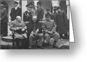 Fdr Greeting Cards - The Big Three  Greeting Card by War Is Hell Store