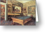 Game Room Greeting Cards - The Billiard Room at Menil-Hubert Greeting Card by Edgar Degas