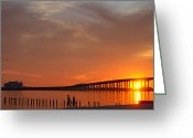 Mississippi County Greeting Cards - The Biloxi Bay Bridge at Sunset Greeting Card by David R Frazier and Photo Researchers