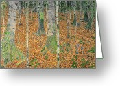 1918 Greeting Cards - The Birch Wood Greeting Card by Gustav Klimt
