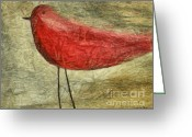 Red Bird Greeting Cards - The Bird - ft06 Greeting Card by Variance Collections