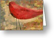 Red Bird Greeting Cards - The Bird - k04d Greeting Card by Variance Collections