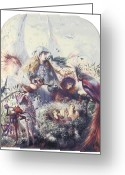 The Nest Painting Greeting Cards - The Birds Nest Greeting Card by John Anster Fitzgerald