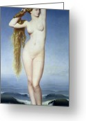 Naked Woman Greeting Cards - The Birth of Venus Greeting Card by Eugene Emmanuel Amaury Duval