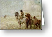 Western Canada Landscape Art Greeting Cards - The Bison Hunters Greeting Card by Nathaniel Hughes John Baird
