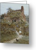Country Lane Greeting Cards - The Black Kitten Greeting Card by Helen Allingham