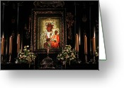 Nun Greeting Cards - The Black Madonna II Greeting Card by Mariola Bitner