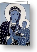 Cards Gallery Greeting Cards - The Black Madonna In Blue Greeting Card by John  Nolan