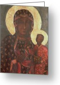 Byzantine Icon Greeting Cards - The Black Madonna of Jasna Gora Greeting Card by Russian School