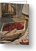 Squid Greeting Cards - The Blessed Fish Market Greeting Card by Mary Machare