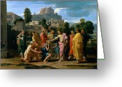 Poussin Greeting Cards - The Blind of Jericho Greeting Card by Nicolas Poussin