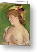 Pensive Greeting Cards - The Blonde with Bare Breasts Greeting Card by Edouard Manet
