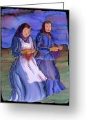 Blues Tapestries - Textiles Greeting Cards - The Blowing Skirts of Ladies Greeting Card by Carolyn Doe