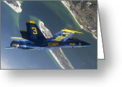 Airplane Greeting Cards - The Blue Angels Perform A Looping Greeting Card by Stocktrek Images