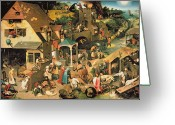 Daily Life Greeting Cards - The Blue Cloak Greeting Card by Pieter the Elder Bruegel