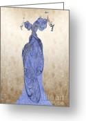 Formal Mixed Media Greeting Cards - The Blue Dress Greeting Card by Andee Photography