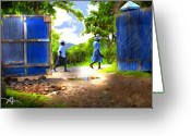 African Greeting Cards - The Blue Gate Greeting Card by Bob Salo