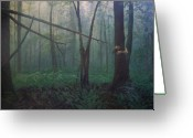 Photo-realism Painting Greeting Cards - The Blue-green Forest Greeting Card by Derek Van Derven