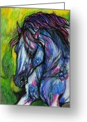 Equine Watercolor Portrait Greeting Cards - The Blue Horse On Green Background Greeting Card by Angel  Tarantella