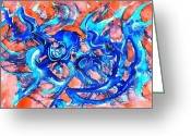 Fine Art Watercolor Drawings Greeting Cards - The blue kalamari Greeting Card by Ion vincent DAnu