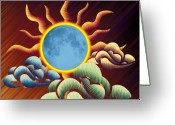 Evening Scenes Digital Art Greeting Cards - The Blue Moon Passion Greeting Card by Waylan Loyd