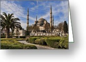 Religion Photo Greeting Cards - The Blue Mosque in Istanbul Turkey Greeting Card by David Smith