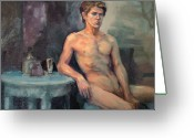 Nudes Males Greeting Cards - The Blue Table Greeting Card by Roz McQuillan
