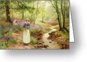 Spring Scenes Painting Greeting Cards - The Bluebell Glade Greeting Card by Ernest Walbourn