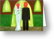 Christian Artwork Painting Greeting Cards - The Blushing Bride And Groom Greeting Card by Patrick J Murphy