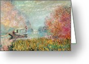 River Banks Greeting Cards - The Boat Studio on the Seine Greeting Card by Claude Monet