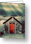Shed Greeting Cards - The Boathouse Greeting Card by Meirion Matthias
