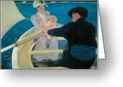 Cassatt Greeting Cards - The Boating Party Greeting Card by Mary Cassatt
