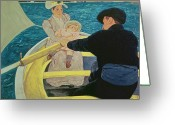 Cassatt; Mary Stevenson (1844-1926) Greeting Cards - The Boating Party Greeting Card by Mary Stevenson Cassatt