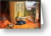 Books Greeting Cards - The Book of Magic Greeting Card by Eugene James
