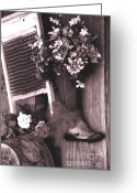 Wash Board Greeting Cards - The Boot Store in Calico California Greeting Card by Susanne Van Hulst