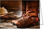 Riding Boots Photo Greeting Cards - The Boots Greeting Card by Olivier Le Queinec