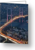 Marmara Greeting Cards - The Bosphorus Bridge At Night Greeting Card by Ayhan Altun