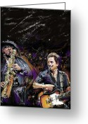 Rock And Roll Glass Greeting Cards - The Boss and the Big Man Greeting Card by Russell Pierce